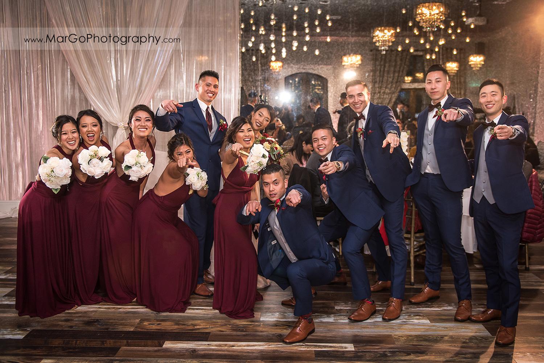 bridal party at Sunol's Casa Bella wedding reception
