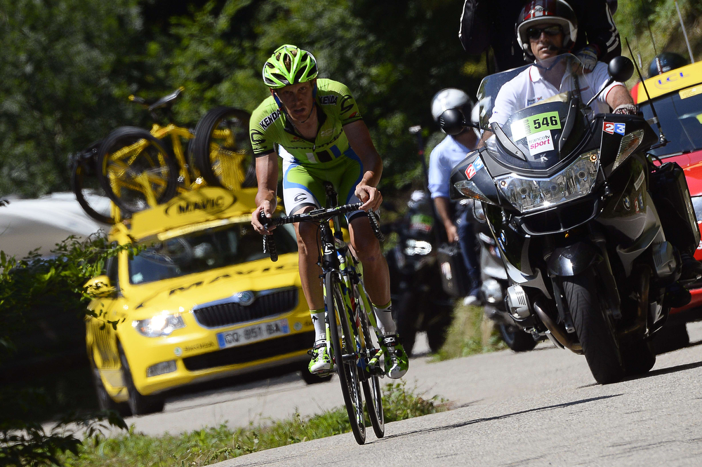 . Italy\'s Alessandro De Marchi rides in a breakaway during the 197.5 km thirteenth stage of the 101st edition of the Tour de France cycling race on July 18, 2014 between Saint-Etienne and Chamrousse, central eastern France.  (LIONEL BONAVENTURE/AFP/Getty Images)
