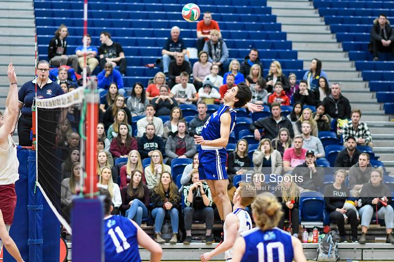 TORONTO, CANADA - Feb 23: during OCAA Men's Volleyball Championship Game 10 Bronze Medal Game Redeemer Royals vs Niagara Knights at Humber Hawks Athletic Center. Photo: Michael Fayehun/F10 Sports Photography