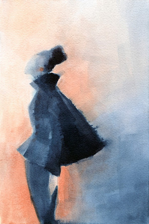 A fresh, vibrant watercolor fashion illustration inspired by a black wool suit designed by Cristobal Balenciaga in 1951.