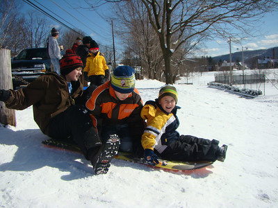 Sled Riding - Damon, Hayden, Mason 3-9-08