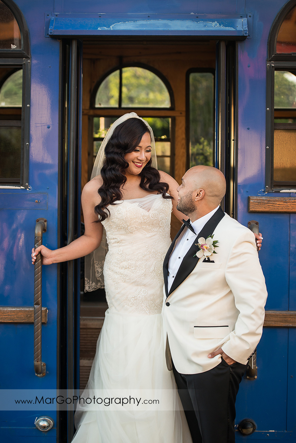 portrait of the bride and groom at blue tramp at Sunol's Casa Bella
