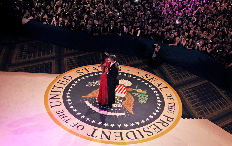 . President Barack Obama and first lady Michelle Obama dance together at the Commander-in-Chief Inaugural Ball in Washington, at the Washington Convention Center during the 57th Presidential Inauguration Monday, Jan. 21, 2013. (AP Photo/Pablo Martinez Monsivais)