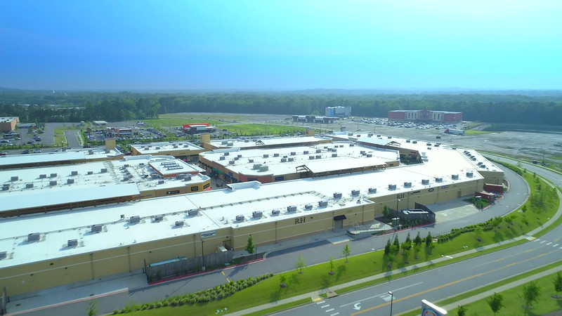 Aerial b roll drone footage of outlet shops Little Rock Arkansas USA 4k