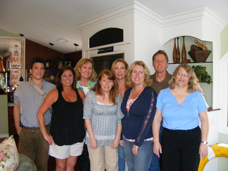Most of the 30-year reunion planning committee: Rich Heryford, Leslie Feducia Louvier, Franci Vittrup Callahan, Debbie Subcasky Maxwell, Rose, Katrin Hecht Bandhauer, Bill Beamish, and Lori Jackson Nielsen.  (Not pictured are Jeff Bitetti and Vic DeMarquette)