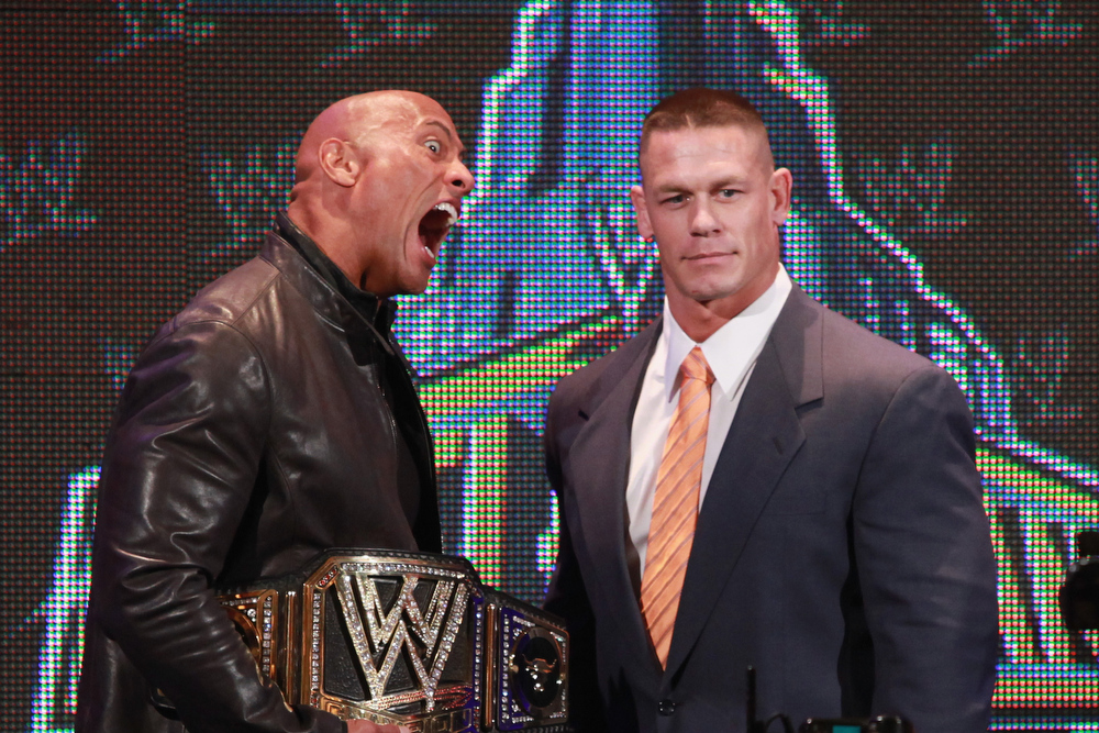 . The Rock and John Cena attend the WrestleMania 29 Press Conference at Radio City Music Hall on April 4, 2013 in New York City.  (Photo by Taylor Hill/Getty Images)
