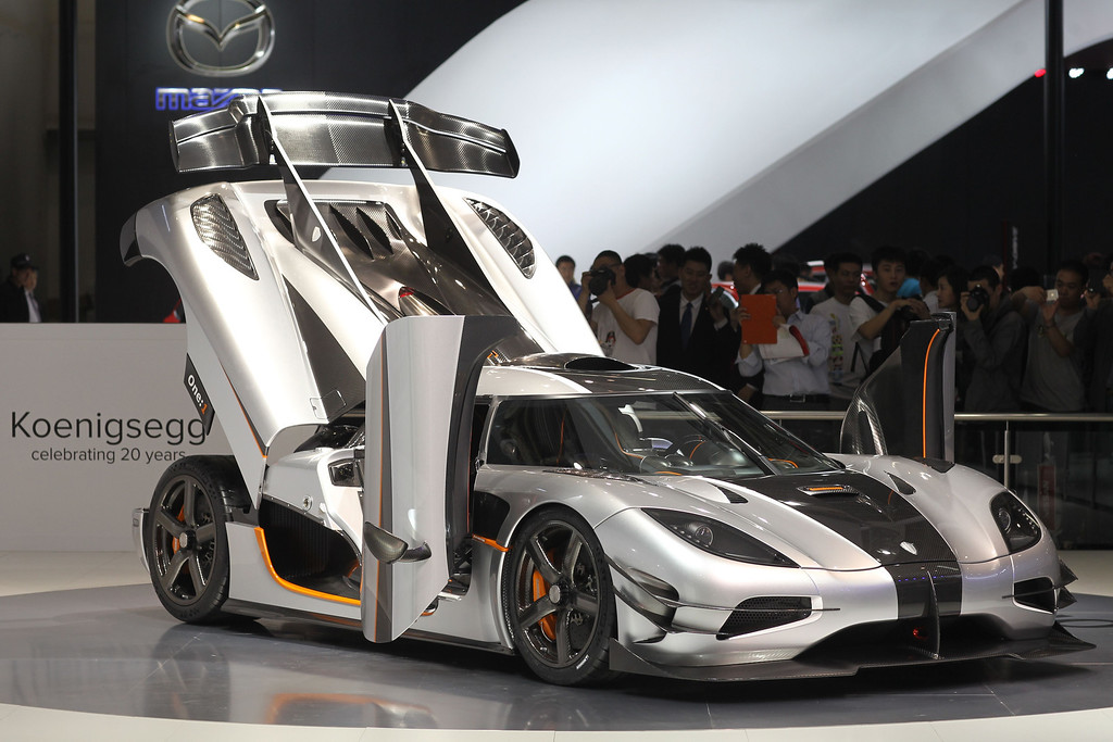 ". A Koenigsegg sports car is on display at the China International Exhibition Center new venue during the ""Auto China 2014\"" Beijing International Automotive Exhibition in Beijing on April 21, 2014. AFP PHOTOSTR/AFP/Getty Images"