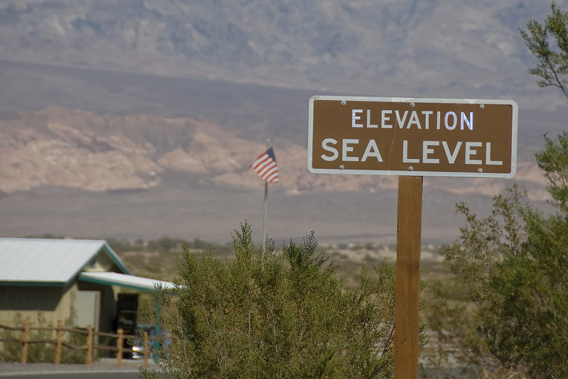 Elevation marker in Death Valley, California