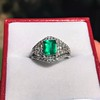 1.29ctw Emerald and Diamond Modified Halo Ring 21