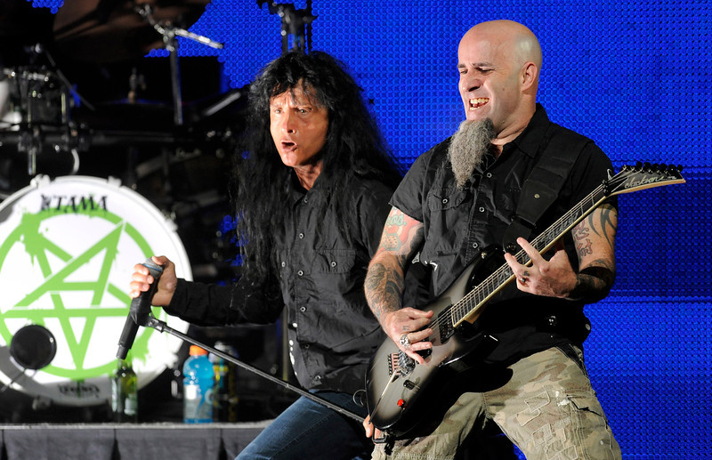 . Joey Belladonna, left, and Scott Ian of Anthrax perform at the 2013 Revolver Golden Gods Award Show at Club Nokia on Thursday, May 2, 2013 in Los Angeles. (Photo by Chris Pizzello/Invision/AP)