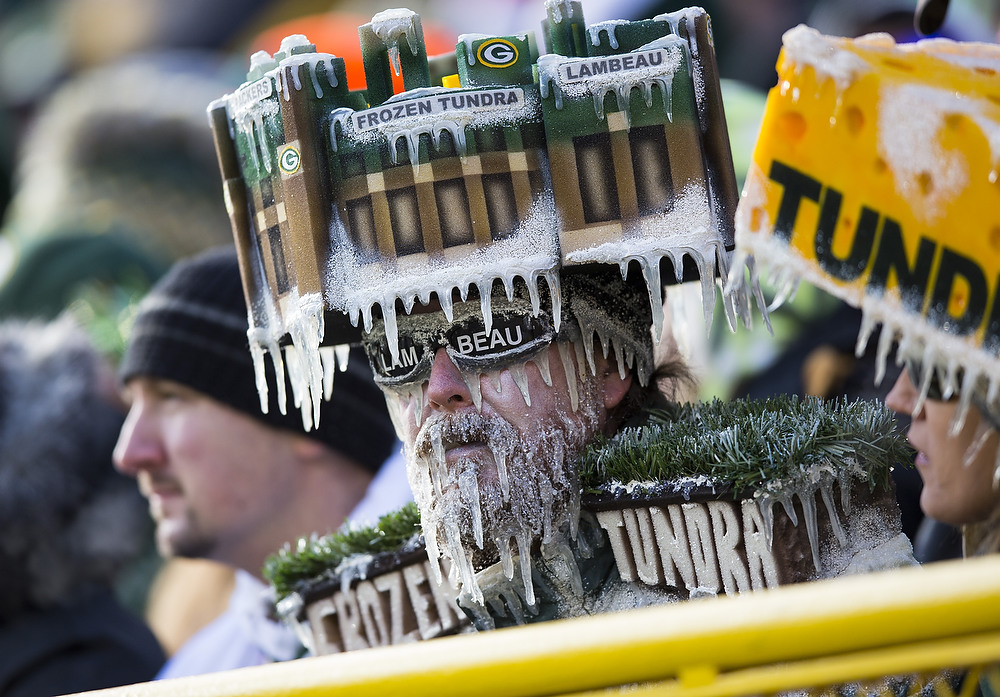 . Green Bay Packers fans with a frozen tundra  hat on during the Tennessee Titans game at Lambeau Field on December 23, 2012 in Green Bay, Wisconsin.  (Photo by Tom Lynn /Getty Images)