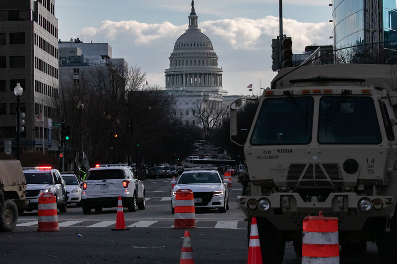 A checkpoint near the U.S. Capitol as inauguration ceremonies conclude