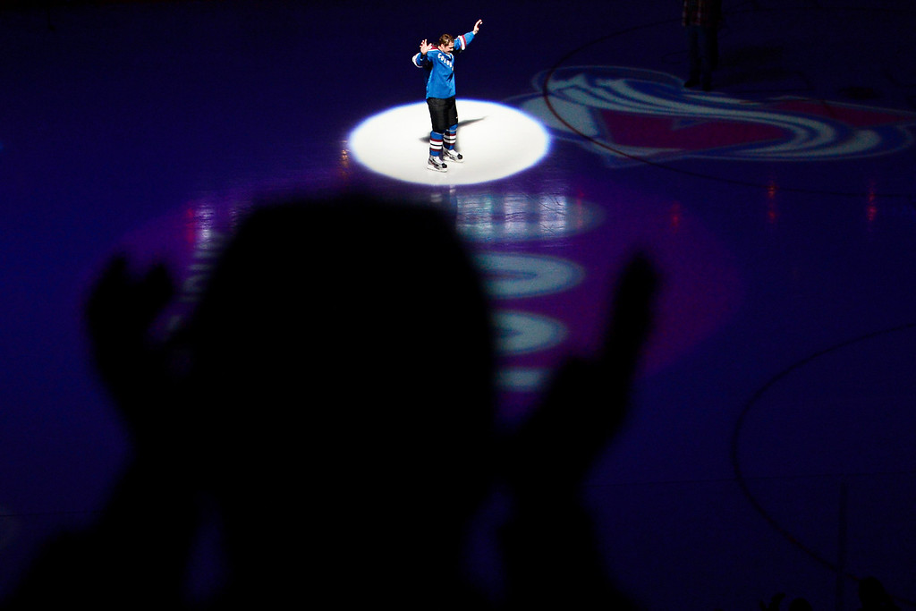 . DENVER, CO. - FEBRUARY 4: Milan Hejduk (23) of the Colorado Avalanche skates on the ice to the applause of fans before the first period of his 1,000th career game. Colorado Avalanche versus the Dallas Stars at the Pepsi Center on February 4, 2012. (Photo By AAron Ontiveroz/The Denver Post)
