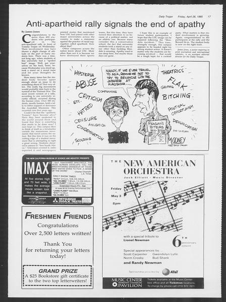 Daily Trojan, Vol. 98, No. 68, April 26, 1985