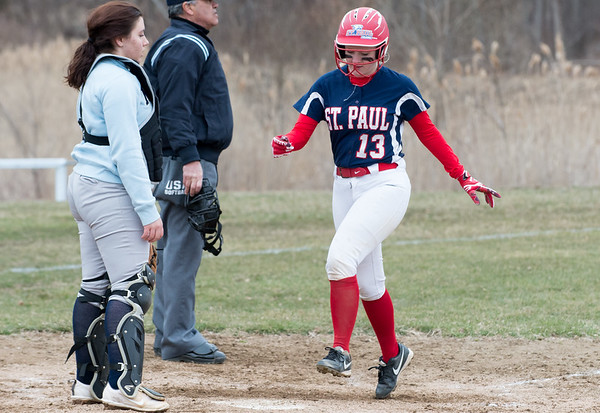 04/02/19 Wesley Bunnell | Staff St. Paul softball defeated Ansonia at home on Tuesday afternoon. Hannah Orzel (13)