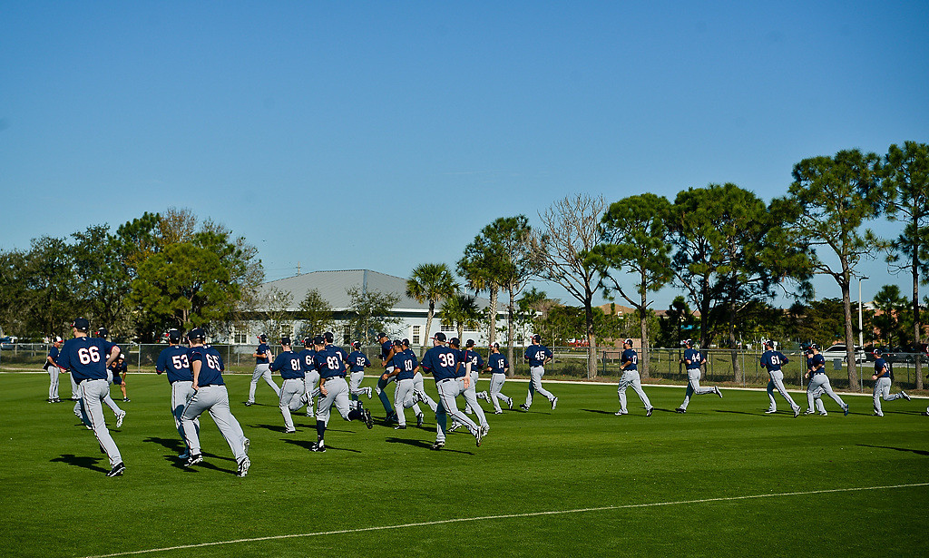 . Players get loose during warm-ups during spring training on a practice field. (Pioneer Press: Ben Garvin)