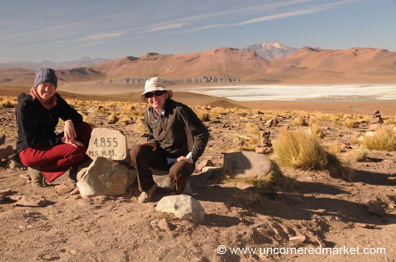 Gaea and Audrey at 4855 Meters - Salar Tour, Bolivia