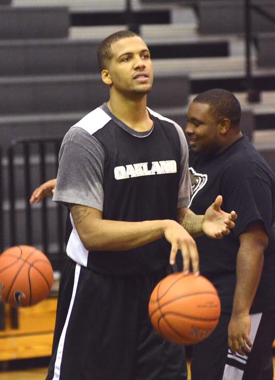. Oakland University guard Duke Mondy during practice Tuesday.    Tuesday, November 5, 2013.  The Oakland Press/TIM THOMPSON