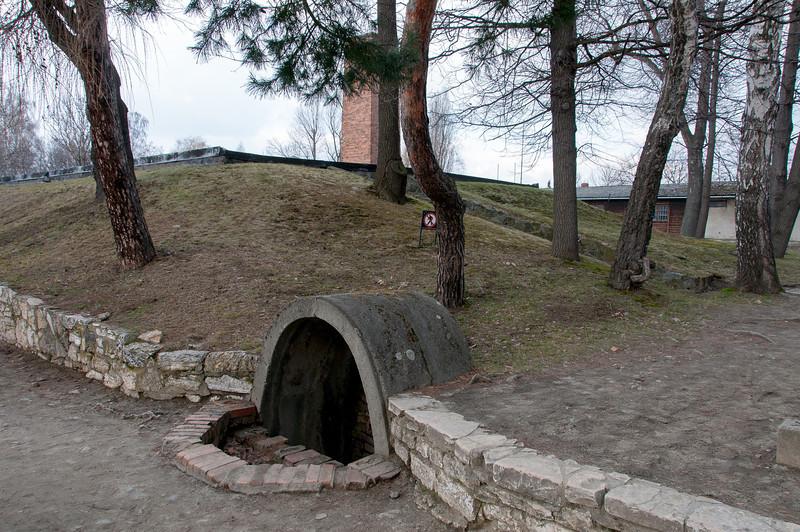 Entrance to the gas chamber in Auschwitz Birkenau - Poland