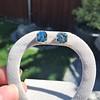 8.41ctw Blue Zircon Asscher Cut Bezel Earrings 11
