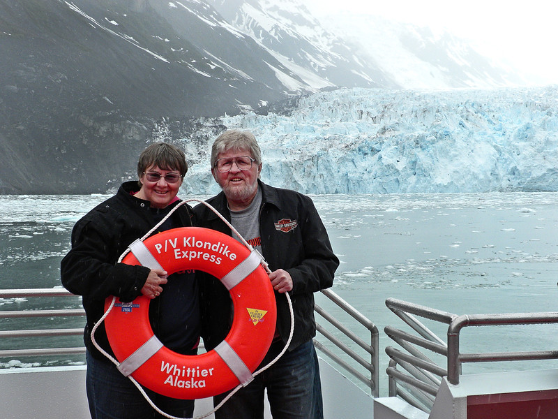 Standing in front of Surprise Glacier in Prince William Sound