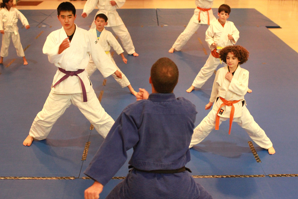 . Sensei Eddie Gearhart leads his students through a warm-up exercise during a judo-jujitsu class for students from the ages of 7 to 16 at Grant Park in Los Altos on Monday, Feb. 25, 2013. In the front row are students Brandon Morimoto, 13, left, and Bennett Rosenberg, 11, right. The Monday-Thursday classes are offered through the Los Altos Recreation Department. For more information, visit www.zentaijudojujitsu.org. (Kirstina Sangsahachart/ Daily News)