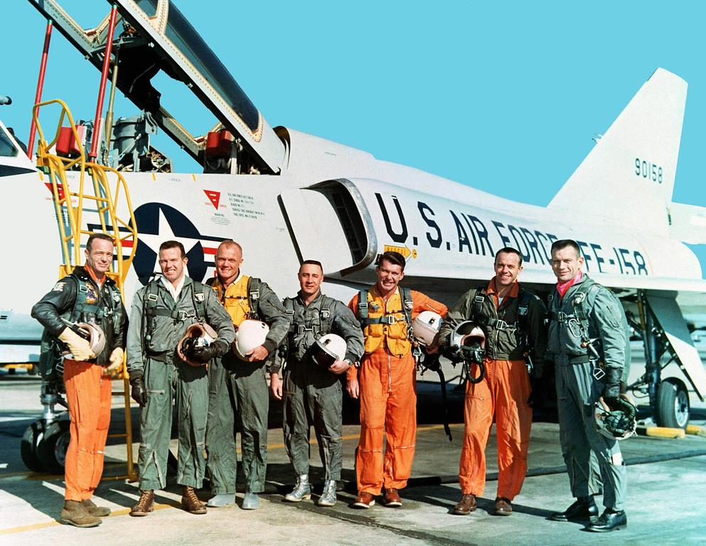 ". The original seven Mercury astronauts are shown during training at NASA Langley Research Center in March 1961 in their flight suits. From left, Lt. M. Scott Carpenter, Capt.  Gordon Cooper, Col. John H. Glenn Jr., Capt. Virgil \""Gus\"" Grissom, Lt.  Comdr. Walter Schirra, Lt. Comdr. Alan B. Shepard Jr. and Capt. Donald  K. \""Deke\"" Slayton.  (AP Photo/Nasa)"