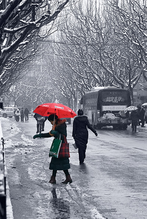 Shanghai Street in Snow