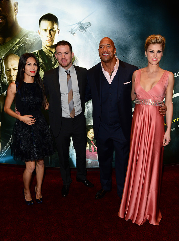 """. From left, Elodie Yung, Channing Tatum, Dwayne Johnson and Adrianne Palicki arrive at the British premiere of \""""G.I. Joe: Retaliation\"""" at a cinema in Leicester Square in London, Monday, March 18, 2013. (Photo by Jon Furniss/Invision/AP)"""