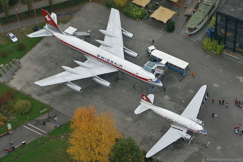 HB-ICC CV990 and HB-IRN DC-3 Swissair @ Luzern Switzerland 11Oct02
