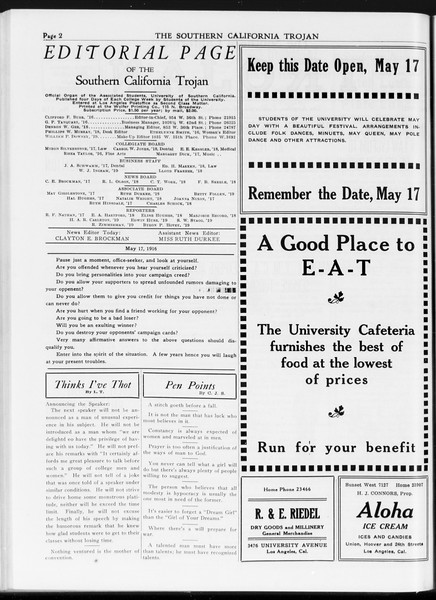 The Southern California Trojan, Vol. 7, No. 118, May 17, 1916