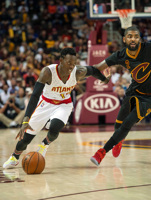 . Atlanta Hawks\' Dennis Schroder (17) drives to the basket as Cleveland Cavaliers\' Kyrie Irving (2) defends during the second half of an NBA basketball game in Cleveland, Tuesday, Nov. 8, 2016. The Hawks won 110-106. (AP Photo/Phil Long)