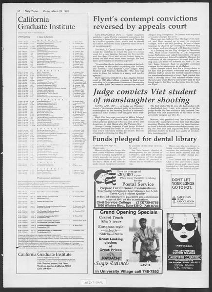 Daily Trojan, Vol. 98, No. 54, March 29, 1985