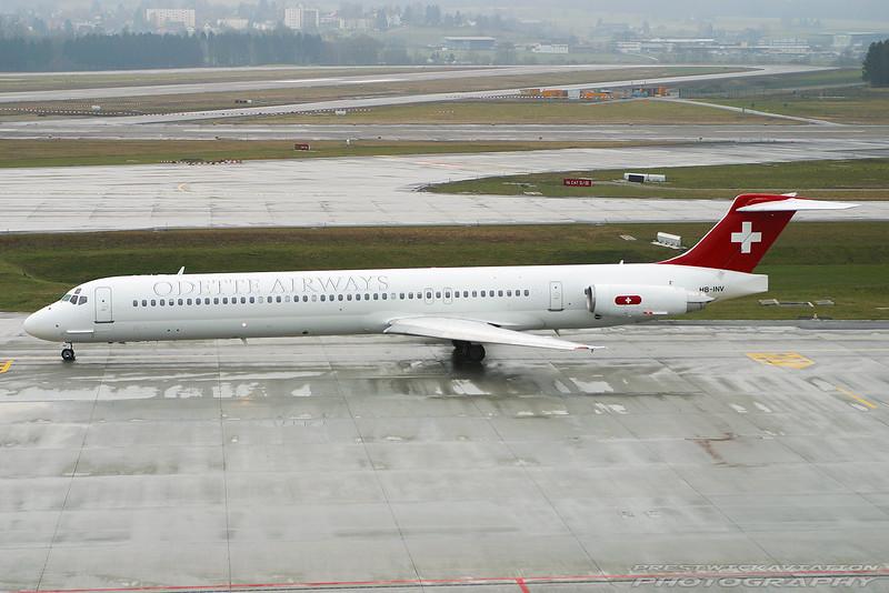 HB-INV. McDonnell Douglas MD-82. Odette Airways. Zurich. 260103.