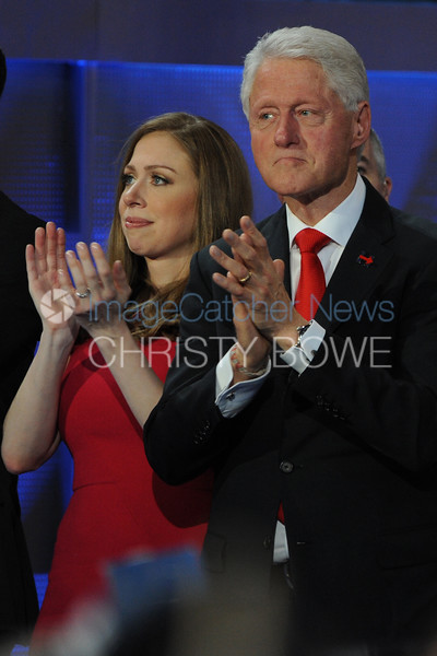 Hillary Rodham Clinton accepts her nomination for president of the United States from the Democratic Party during the 2016 Democratic Convention. Chelsea and father Bill Clinton listen to remarks.