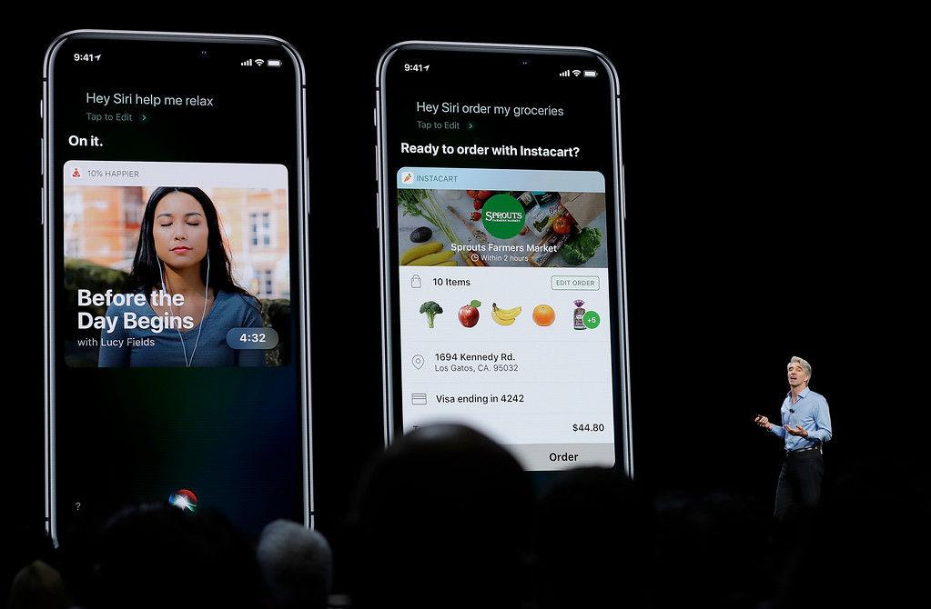 . Craig Federighi, Apple\'s senior vice president of Software Engineering, speaks about Siri during an announcement of new products at the Apple Worldwide Developers Conference Monday, June 4, 2018, in San Jose, Calif. (AP Photo/Marcio Jose Sanchez)