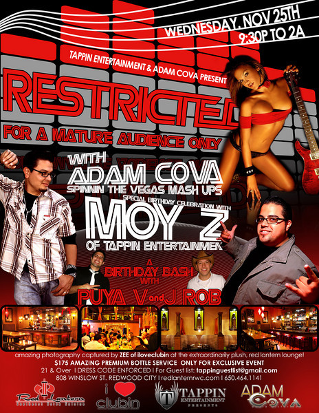Tappin Entertainment & Adam Cova presents Restricted @ Red Latern 11.25.09
