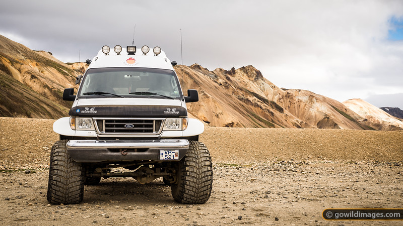 This van is at the smaller end of Iceland's monster 4wds! Rhyolite hills of Landmannalaugar beyond.