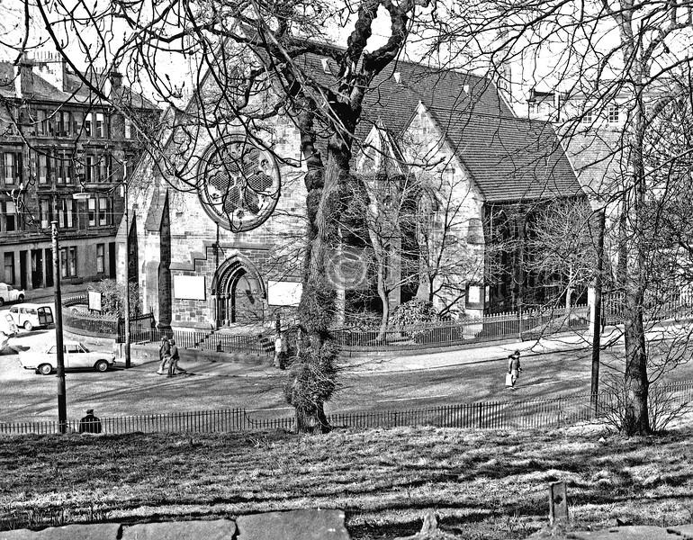 Park Rd / Eldon St.  St Silas' Church.  March 1975