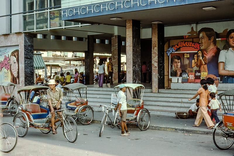 Pedicabs outside theater, Korat, Thailand
