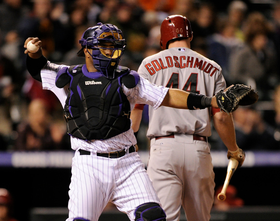 . DENVER, CO. - APRIL 19:  Arizona batter Paul Goldschmidt returned to the dugout after striking out in the ninth inning. The Colorado Rockies defeated the Arizona Diamondbacks 3-1 at Coors Field Friday night, April 19, 2013.  Photo By Karl Gehring/The Denver Post)