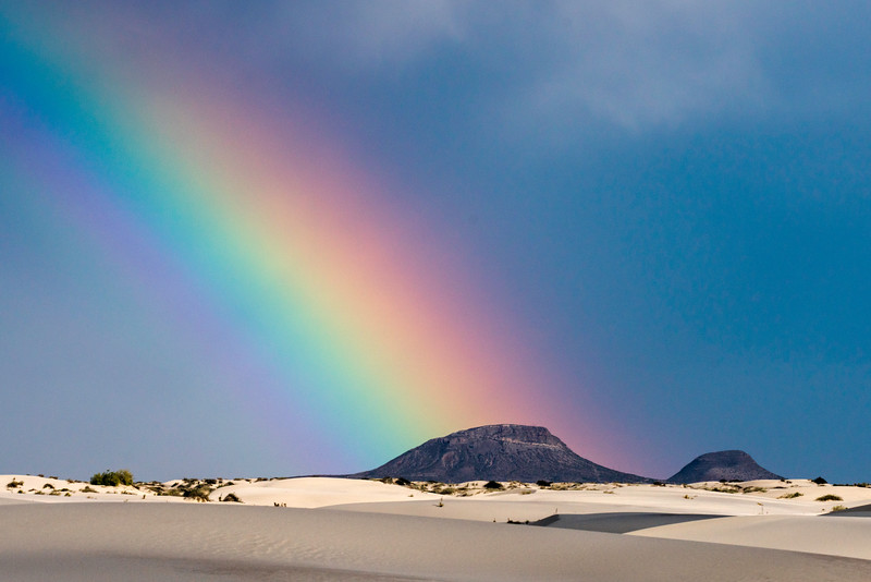 Rainbow and Butte at White Sands