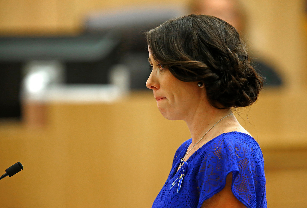 ". Samantha Alexander, sister of murder victim Travis Alexander, cries as she makes her ""victim impact statement\"" to the jury on Thursday, May 16, 2013, during the penalty phase of the Jodi Arias trial at Maricopa County Superior Court in Phoenix.  Jodi Arias was convicted of first-degree murder in the stabbing and shooting to death of Travis Alexander, 30, in his suburban Phoenix home in June 2008. (AP Photo/The Arizona Republic, Rob Schumacher, Pool)"