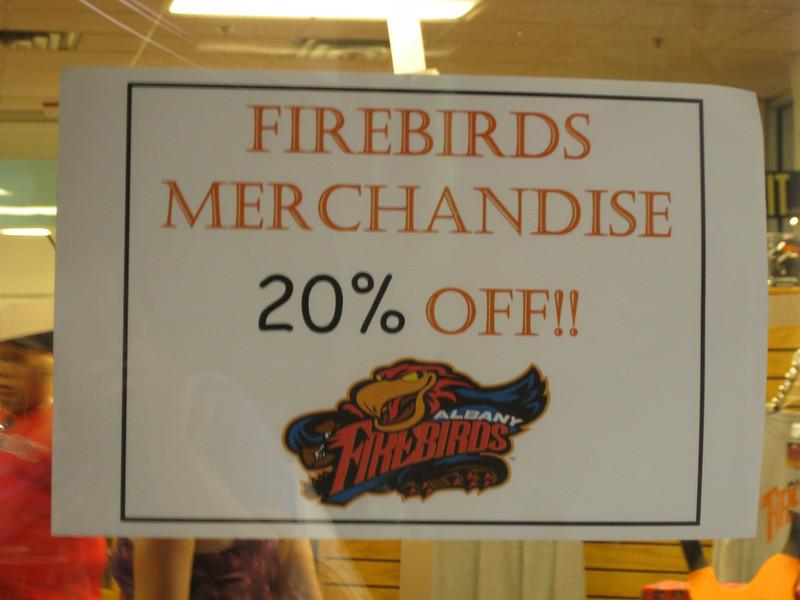Firebirds merchandise was 20% off.