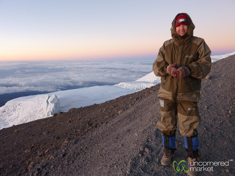 Audrey with Kilimanjaro Glaciers - Mt. Kilimanjaro, Tanzania