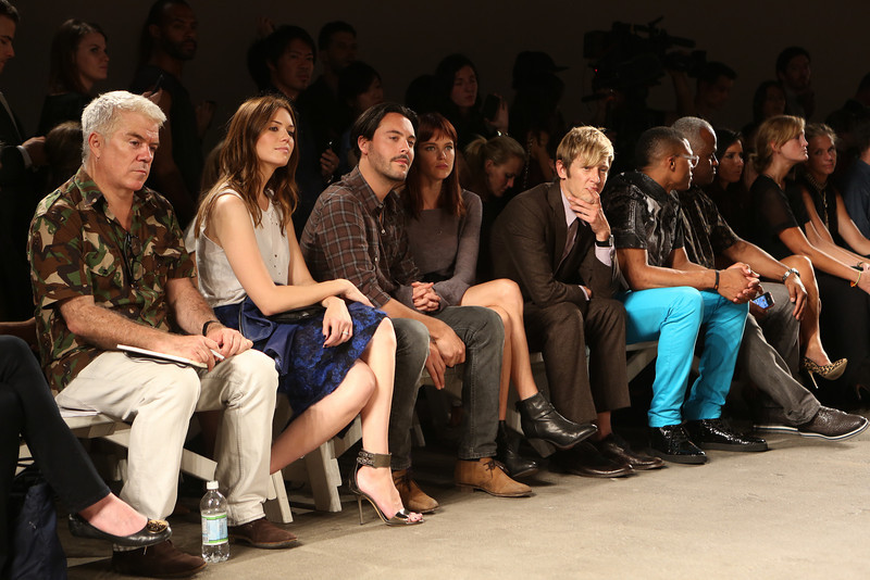 NEW YORK, NY - SEPTEMBER 07:  (L-R_ Editor-at-large of Style.com Tim Blanks, actress / singer Mandy Moore, actor Jack Huston, model Shannan Click, actor Gabriel Mann, NBA athlete Russell Westbrook and agent Thad Foucher attend Billy Reid's spring 2013 fashion show during Mercedes-Benz Fashion Week at Eyebeam on September 7, 2012 in New York City.  (Photo by Chelsea Lauren/Getty Images)