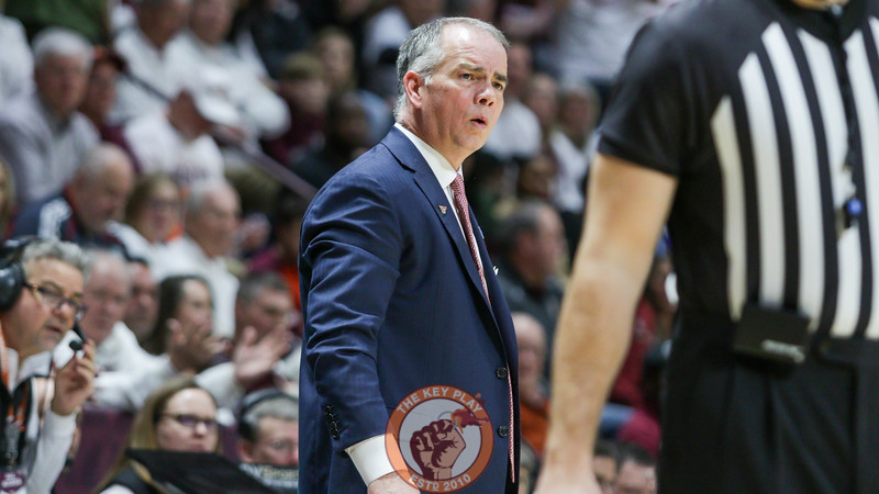 Virginia Tech head coach Mike Young looks on after a foul call in the first half. (Mark Umansky/TheKeyPlay.com)