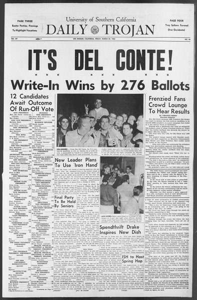 Daily Trojan, Vol. 54, No. 92, March 29, 1963
