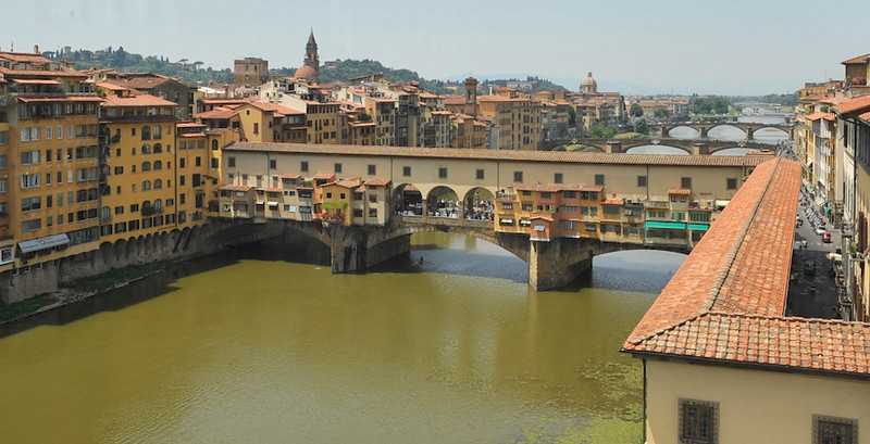 The medieval Ponte Vecchio Bridge, spanning the Arno River in Florence, Italy