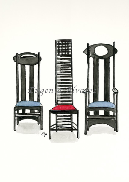 Argyle Chair, Hill House Chair and Argyle Carved Chair by Charles Rennie Mackintosh. Painting Art Print Furniture Art Print Fine Art Print from Watercolor Painting Art Nouveau  Art Print Charles Rennie Mackintosh Chairs Watercolor Wall Art
